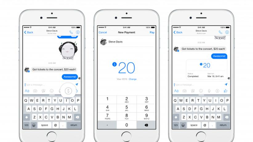 Demonstration des Bezahlens im Facebook Messenger