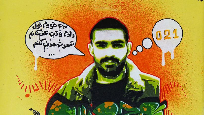 """Social Media: """"Oham One"""" – mit diesem und anderen Werken aus der Ausstellung """"Tehran 94"""" im Berliner Kunsthaus SomoS ist der Artikel von Hossein Derakhshan illustriert. Der Text in der Sprechblase bedeutet: """"Ich habe mir geschworen, keine Zeit zu verschwenden, Deine Stadt (oder: dein zu Hause) nicht in Gefahr zu bringen."""" 021 ist die Vorwahl von Teheran."""