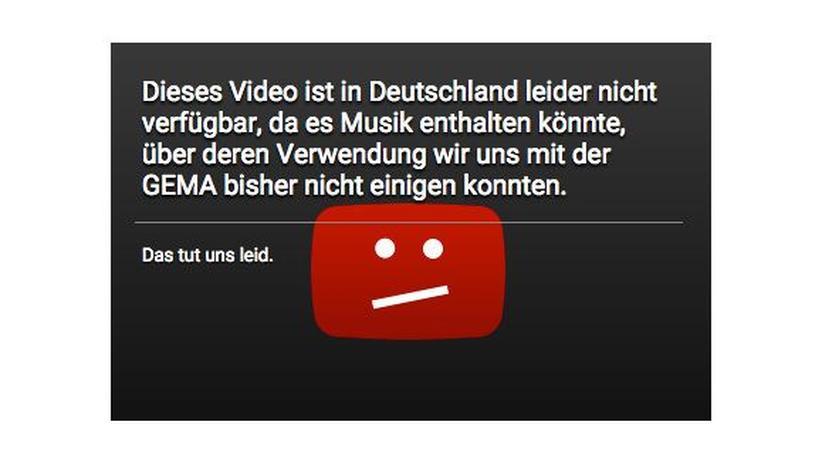 Diese Sperrtafel bekommen deutsche YouTube-Nutzer zurzeit angezeigt.