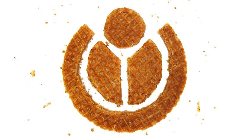 Das Wikimedia-Logo in Stroopwafels