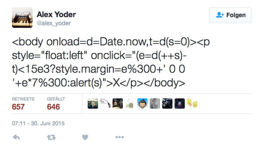 Code für Alex Yoders Browsergame