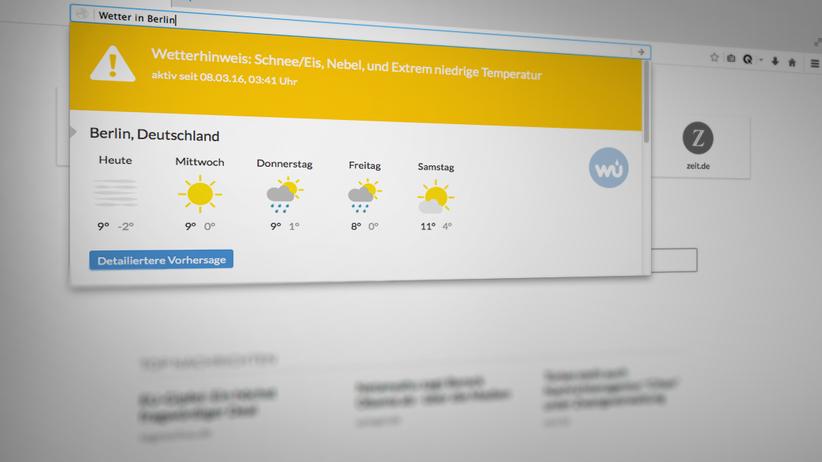 """Cliqz: Mit dem Befehl """"Wetter in"""" wird die aktuelle Vorhersage für eingegebenen Ort angezeigt. Das ist übersichtlich und sieht gut aus."""