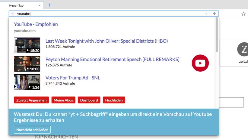 Video-Empfehlungen auf einen Blick, Abos und Dashboard sofort erreichbar. Das YouTube-Menü von Cliqz sieht gut aus und überzeugt durch Funktionalität