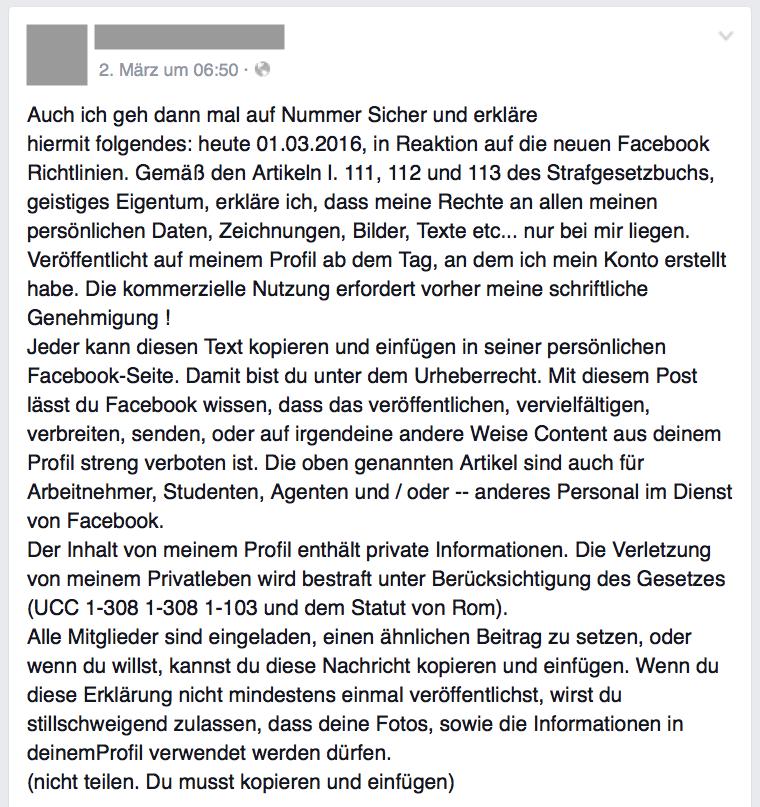 So, oder so ähnlich, lautet der Kettenbrief auf Facebook