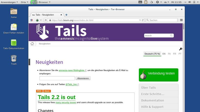 Tor-Browser in Tails 2.2