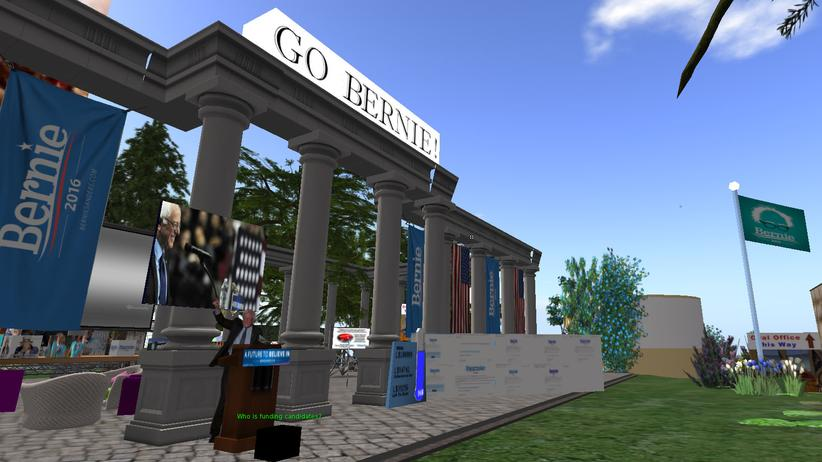 Der Pavillon von Bernie Sanders in Second Life