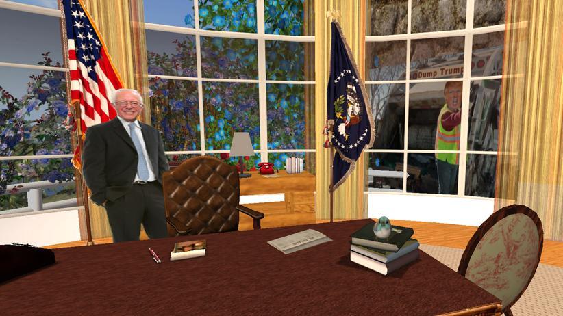 Second Life: Sanders in einer Nachbildung des Oval Office