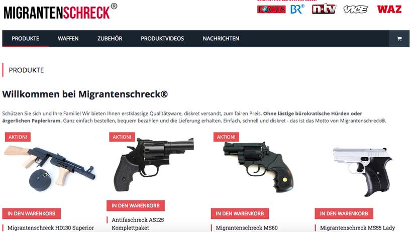 """Screenshot der Seite """"Migrantenschreck"""""""
