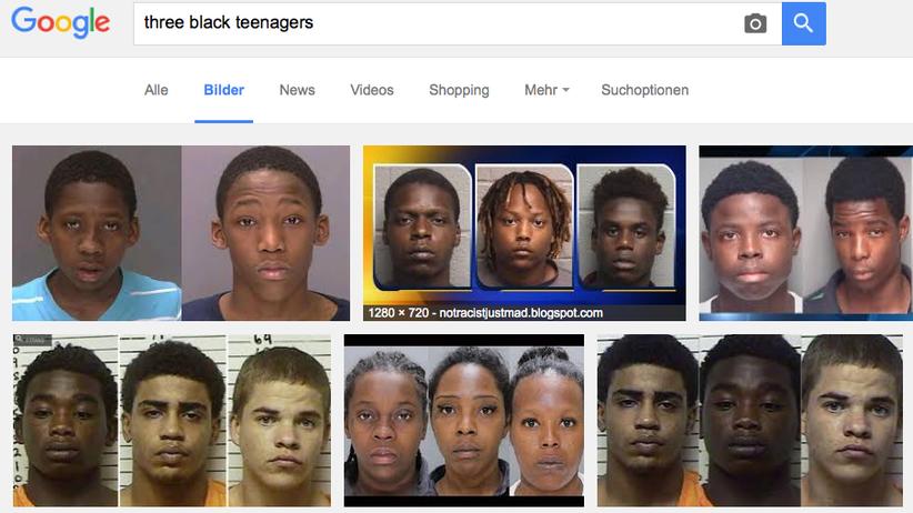 """Google: Ergebnis für """"three black teenagers"""" in der Google-Bildersuche"""
