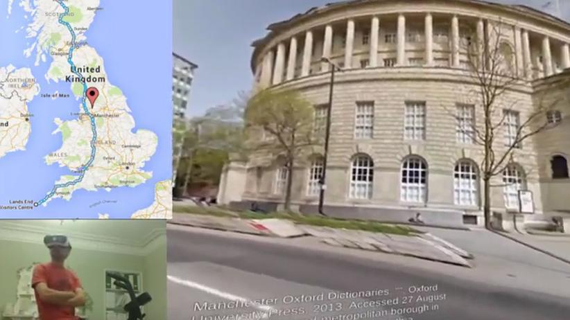 VR-Lifehack: Aaron Puzey radelt durch Großbritannien.
