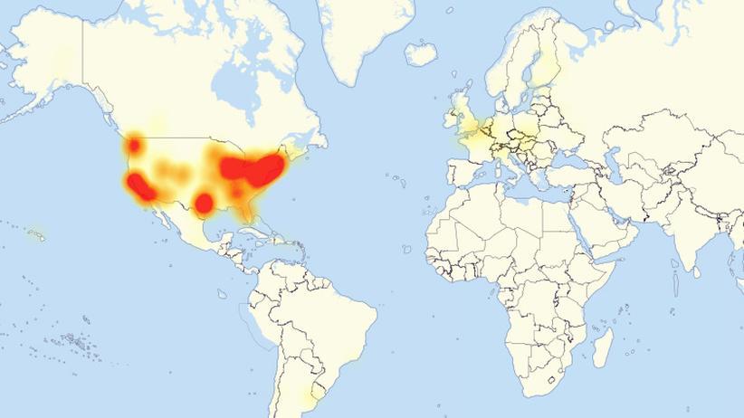 DDoS-Attacke: Die Karte des Netzwerkanbieters Level 3 zeigt zahlreiche Störungen am Freitag.