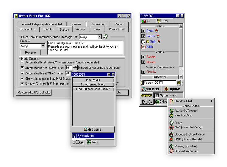 Eine frühe Version von ICQ aus den Neunziger Jahren.