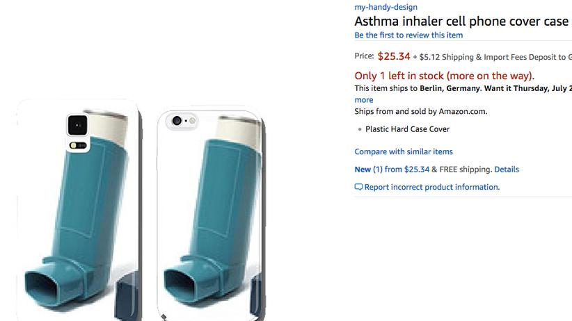 Amazon: Typisches Handyhüllenmotiv von mein-handy-design: Inhalator für Asthmapatienten
