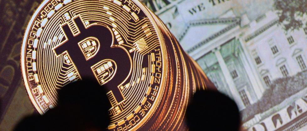 Bitcoin- und Dollarsymbole