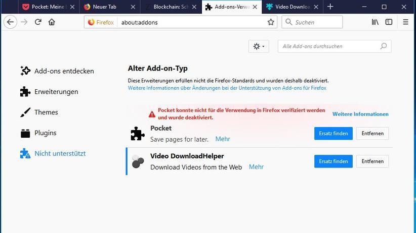 Firefox Quantum: Nicht alle alten Erweiterungen funktionieren auch mit Firefox Quantum. Meist findet sich aber adäquater Ersatz.