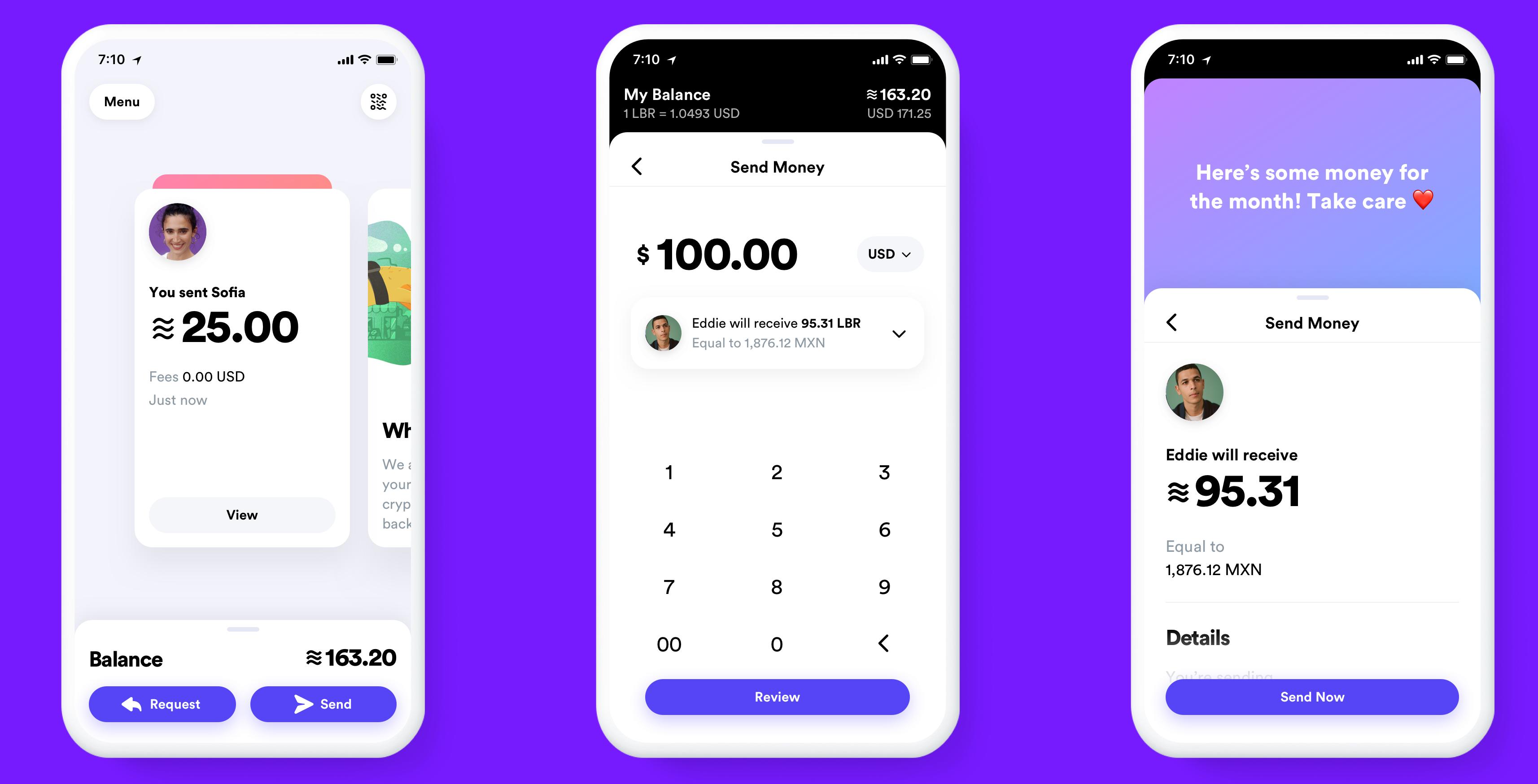 Screenshots der Calibra-Wallet