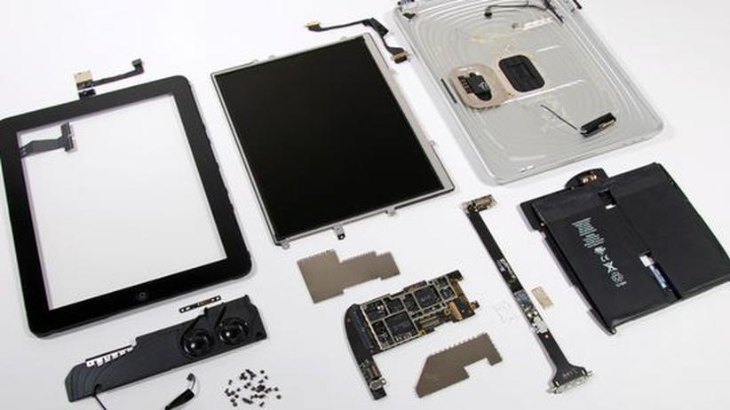 Das iPad zerlegt in seine Einzelteile