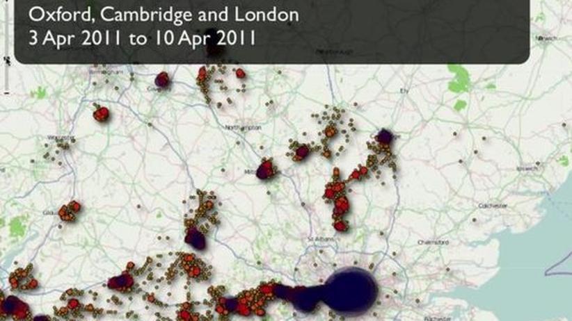 Bewegungsprofil eines iPhones im Raum London