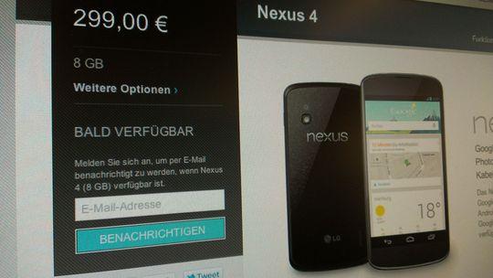 """Nach wenigen Minuten wechselte die Anzeige beim Nexus 4 von """"auf Lager"""" zurück auf """"bald verfügbar""""."""