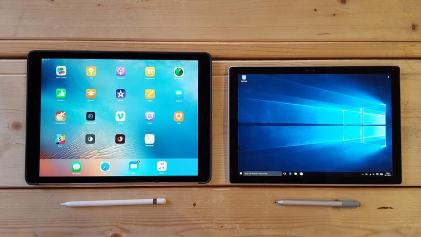 Im Vergleich: Das iPad Pro (links) und das Surface Pro 4