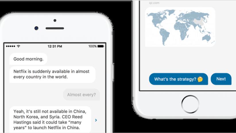 Quartz: Die neue Quartz-App sieht aus wie ein Messenger.