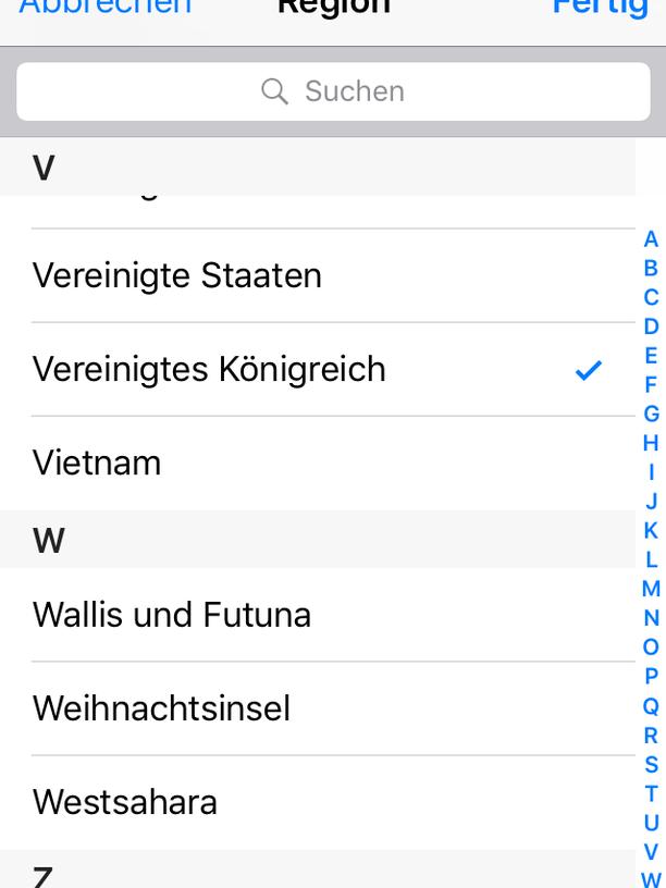 Regional-Einstellungen auf dem iPhone