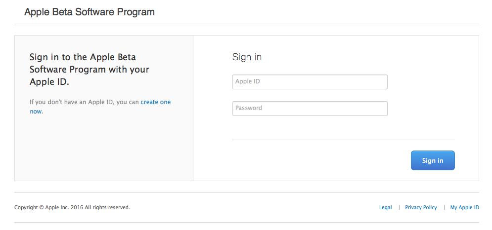 Registrierung für Apples Beta-Programm