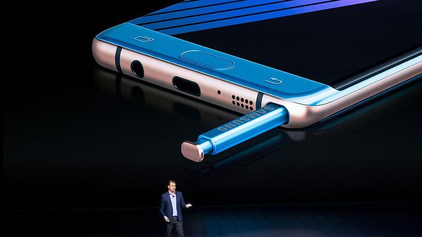 Während der Vorstellung des Galaxy Note 7 in New York.