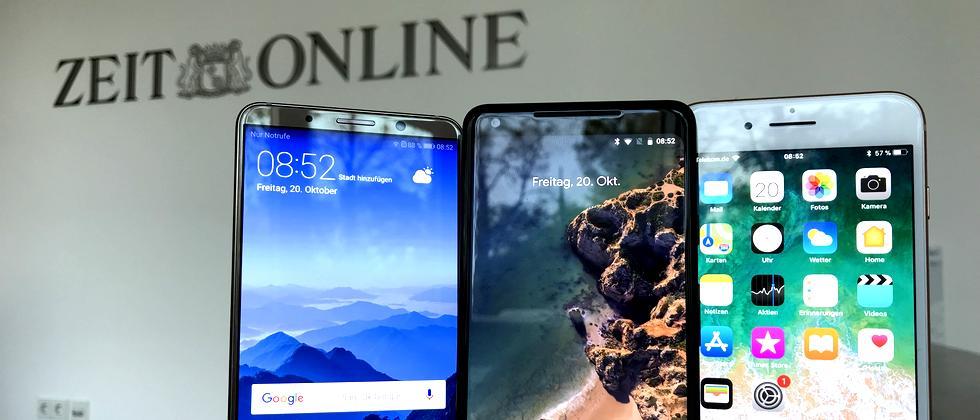 Huawei Mate 10 Pro, Google Pixel 2 XL und iPhone 8 Plus