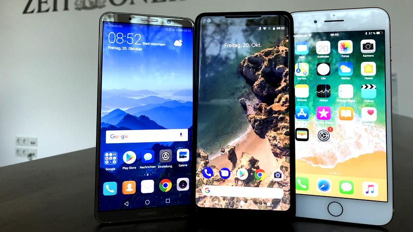 Huawei Mate 10 Pro, Google Pixel 2 XL und iPhone 8 Plus
