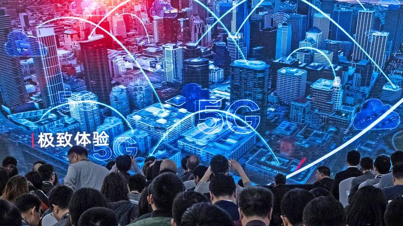 Huawei: Journalisten bei der Vorstellung neuer Huawei-Produkte in Peking