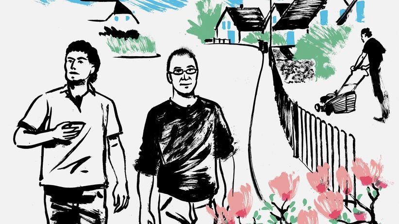 Integration: Die Illustration zeigt Amir Baitar und seinen Gastgeber Henning Sußebach