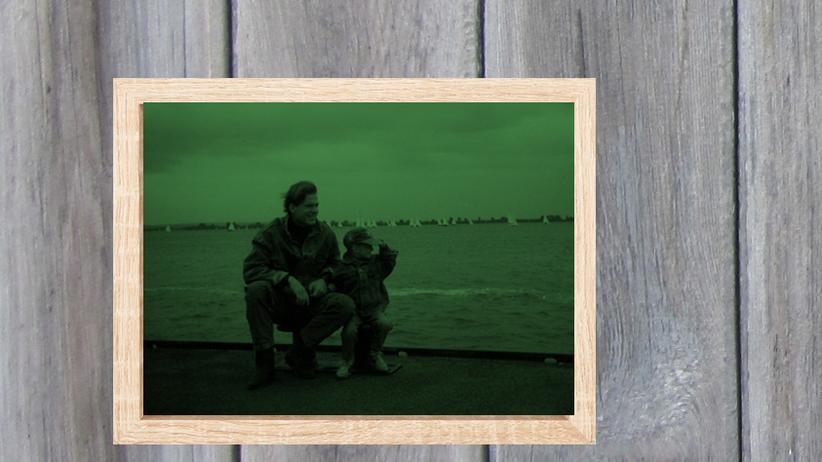 Vater-Sohn-Beziehung: Helge Grimm und sein Sohn Moritz Herrmann, circa 1991