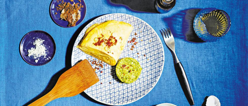 Omelettschule Omelett Käse Speck
