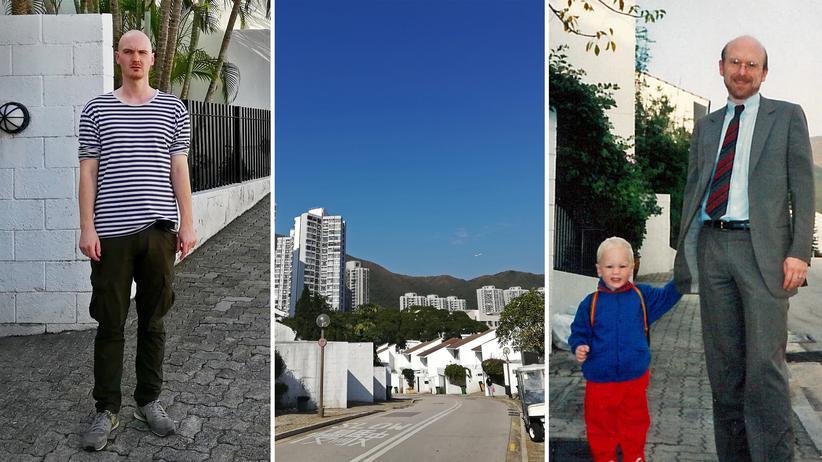 Hongkong: Unser Autor Caspar Shaller vor dem damaligen Wohnhaus seiner Familie und als kleines Kind an der Hand seines Vaters.