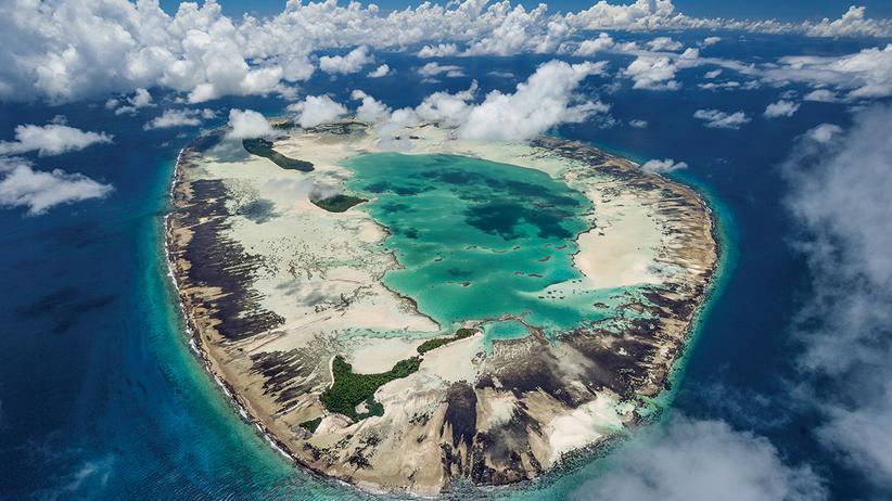 Seychellen: So sieht das St.-Joseph-Atoll, ein Teil der Seychellen, vom Flugzeug aus.