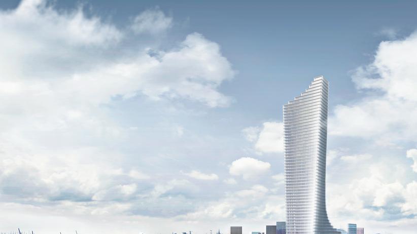 Stadtentwicklung: Der Turm soll das markante Finale der Hafencity sein. Der gestufte Fuß neigt sich in Richtung Innenstadt.