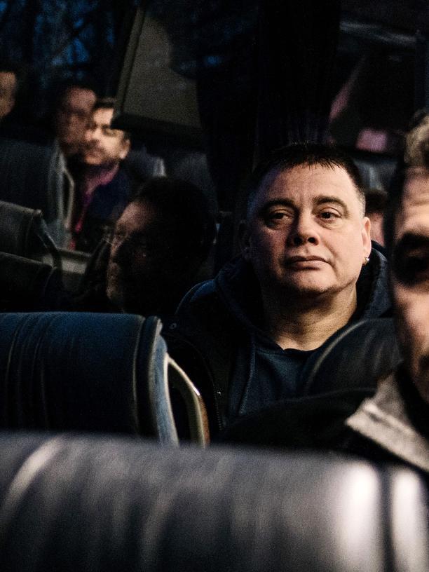 Michael Voß im Bus auf dem Weg zum Bergwerk Prosper Haniel