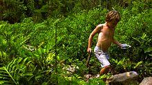 Ein Junge mit ADHS-Diagnose sammelt während einer Exkursion Abdrücke von Tierspuren. In den USA lernen Kinder mit ADHS unter anderem in betreuten Camps ihren Bewegungsdrang zu kontrollieren