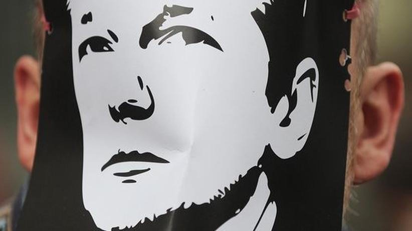 Operation Payback: Ein Pro-Wikileaks-Demonstrant mit einer Julian-Assange-Maske