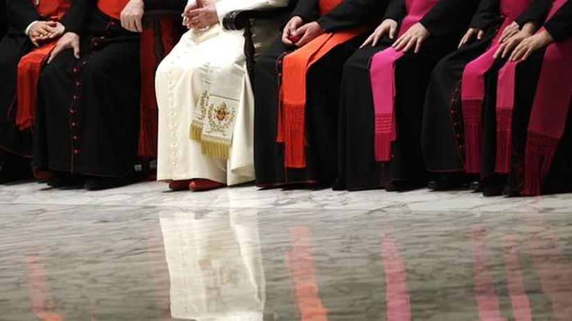 Benedikt-Rücktritt: Der Papst mit Kardinälen und Bischöfen während einer Audienz im Vatikan