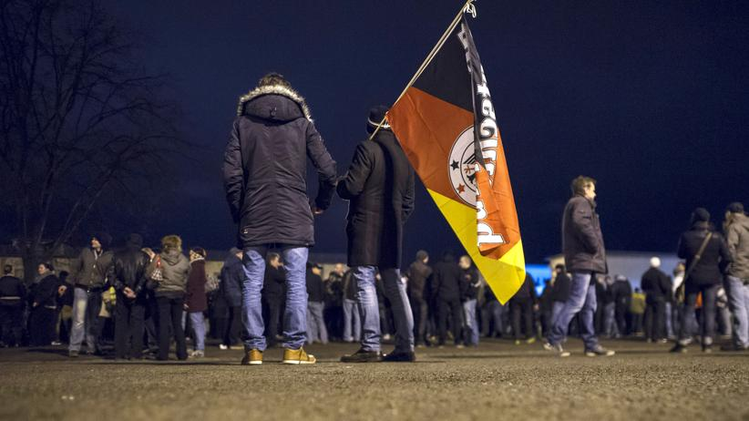 "Anti-Islam-Proteste: LEIPZIG, GERMANY - JANUARY 12: Supporters of the Pegida movement march for the first time in their own version of protest, which they have dubbed ""Legida,"" to show their solidarity with the victims of the recent Paris terror attacks on January 12, 2015 in Leipzig, Germany. Pegida is an acronym for ""Patriotische Europaeer Gegen die Islamisierung des Abendlandes,"" which translates to ""Patriotic Europeans Against the Islamification of the West,"" and has quickly gained a spreading mass appeal by demanding a more restrictive policy on Germany's acceptance of foreign refugees and asylum seekers. Pegida has drawn up to 18,000 participants to its weekly Dresden marches since the first march in October, though so far attempts to hold marches in other cities have only drawn several hundred supporters. (Photo by Jens Schlueter/Getty Images)"