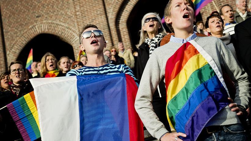 Diskriminierung: Protest in Stockholm gegen die russische Diskriminierung von Homosexuellen und Transsexuellen (Archivbild)
