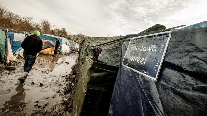 Flüchtlingskrise: Flüchtlinge in einem Camp in Nordfrankreich