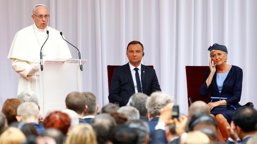 Polen-Besuch: Papst Franziskus beim Treffen mit Polens Präsident Andrzej Duda