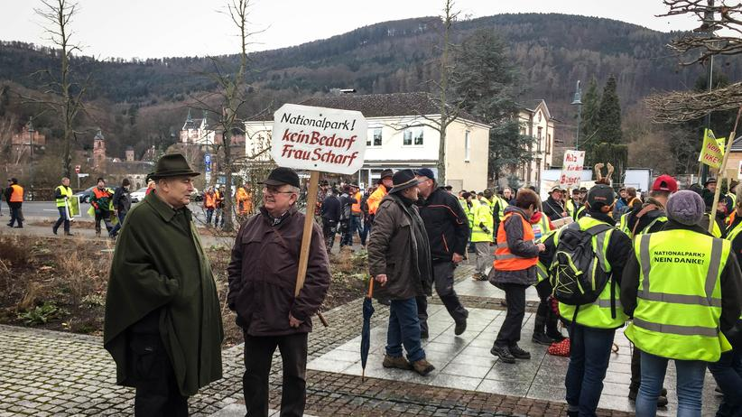 Nationalpark Spessart: Bürger demonstrieren in Miltenberg gegen den geplanten Nationalpark.