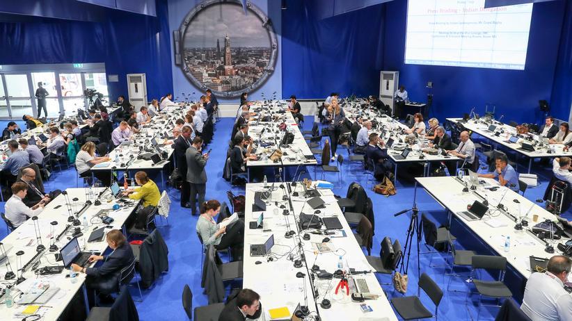 G20-Gipfel: Journalisten berichten aus dem Pressezentrum des G20-Gipfels im Juli in Hamburg.