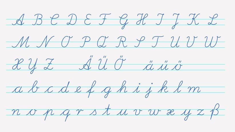 Schreibschrift: Die Lateinische Ausgangsschrift wurde 1953 in Deutschland eingeführt.