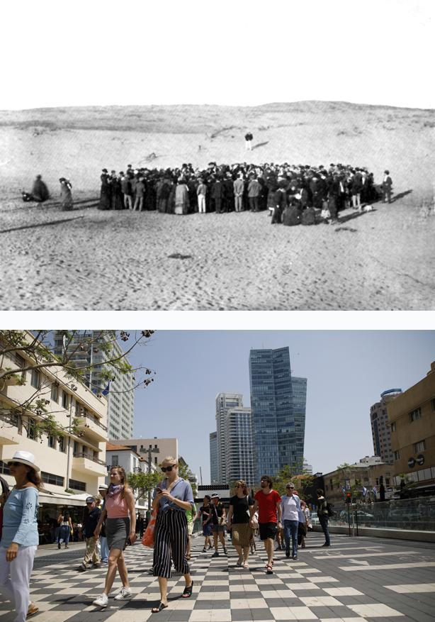 Israel: In Dünen am Mittelmeer gründen jüdische Siedler am 11. April 1909 Tel Aviv (oben). Heute ist daraus eine Metropole mit Hochhäusern geworden (unten)