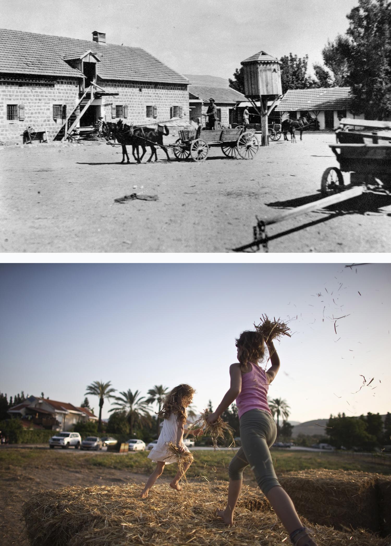 Israel: 1910 siedeln Juden in Degania, dem ersten Kibbuz Israels (oben). Beim Erntedankfest 2015 spielen dort Mädchen im Heu (unten)